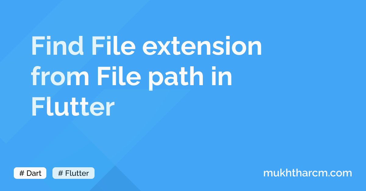 Find File extension from File path in Flutter