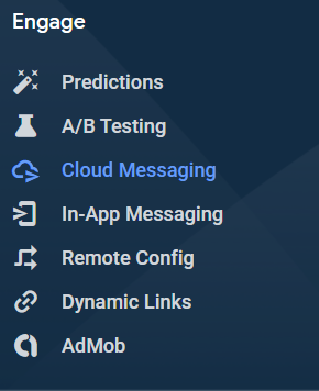 Click on Cloud Messaging